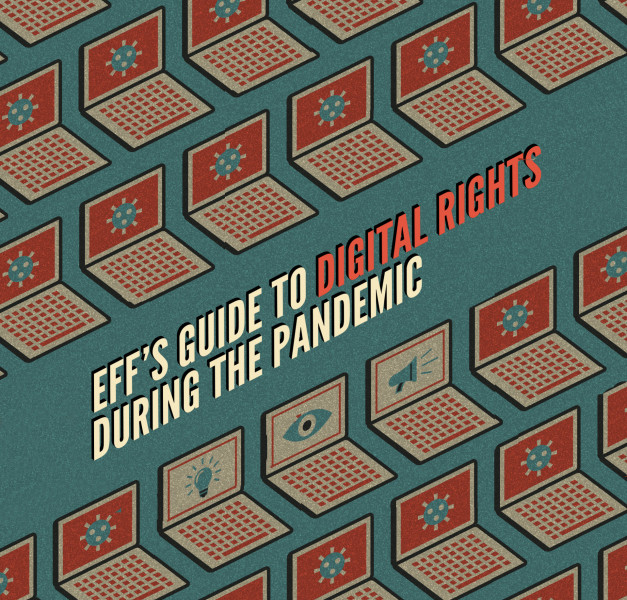 """Front page of ebook, with the title """"EFF's guide to digital rights during the pandemic"""""""