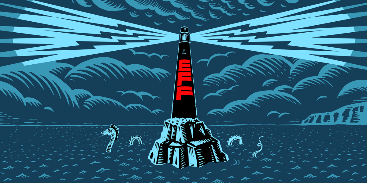 Electronic Frontier Foundation (EFF) lighthouse emitting electricity over dark seas