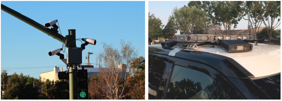 Side-by-side images: Three ALPR cameras on a street light and a camera on a police car.
