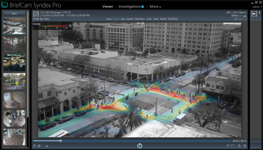 A software program showing video of an intersection, with heavily trafficked areas highlighted