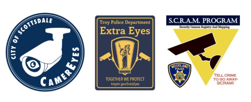 Logos for three police departments' camera registry programs