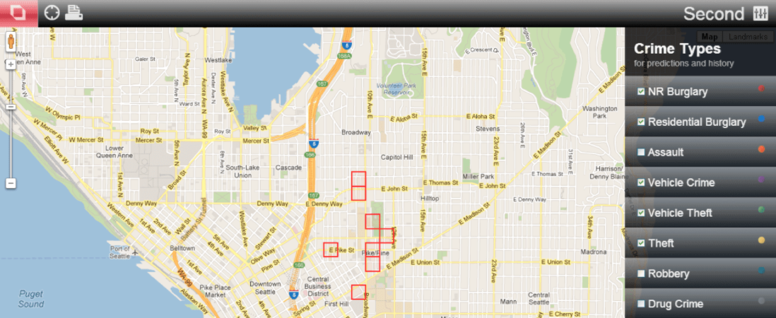 A digital map showing several neighborhoods marked as being potential crime zones.