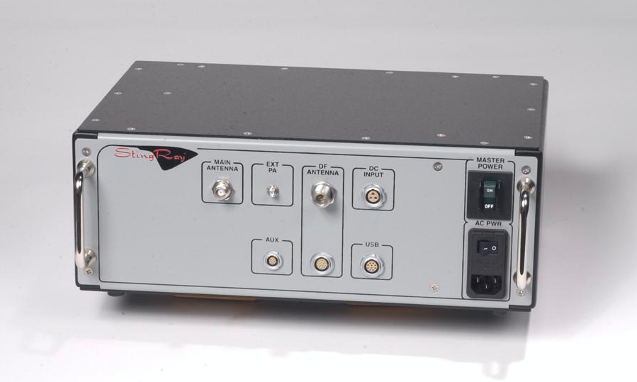 A Harris Corporation cell-site simulator: a gray, unremarkable metal box with the Stingray logo.