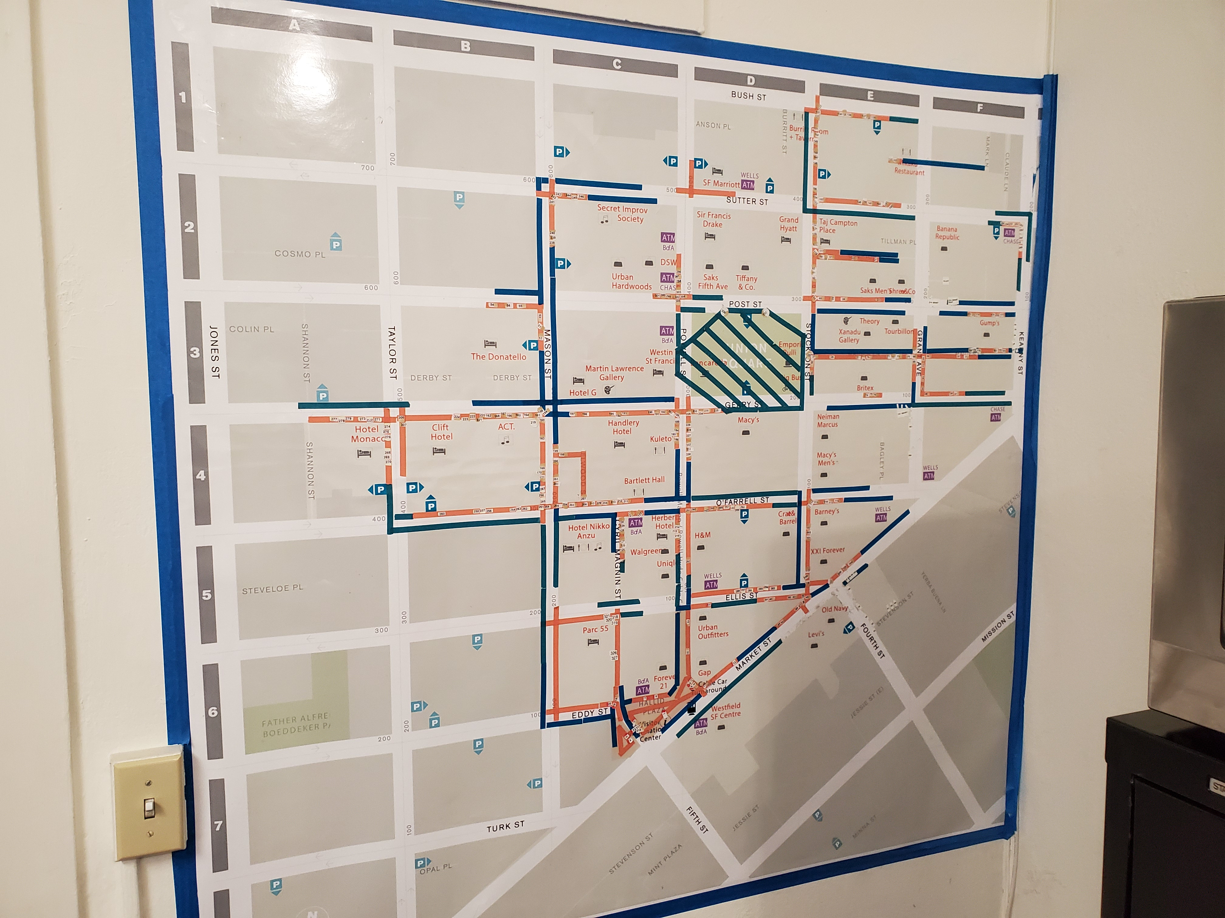 A map taped to wall showing where surveillance cameras are in Union Square