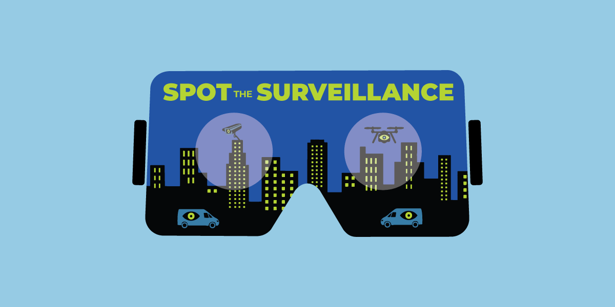 a visor looking at buildings with drones and other spy tech
