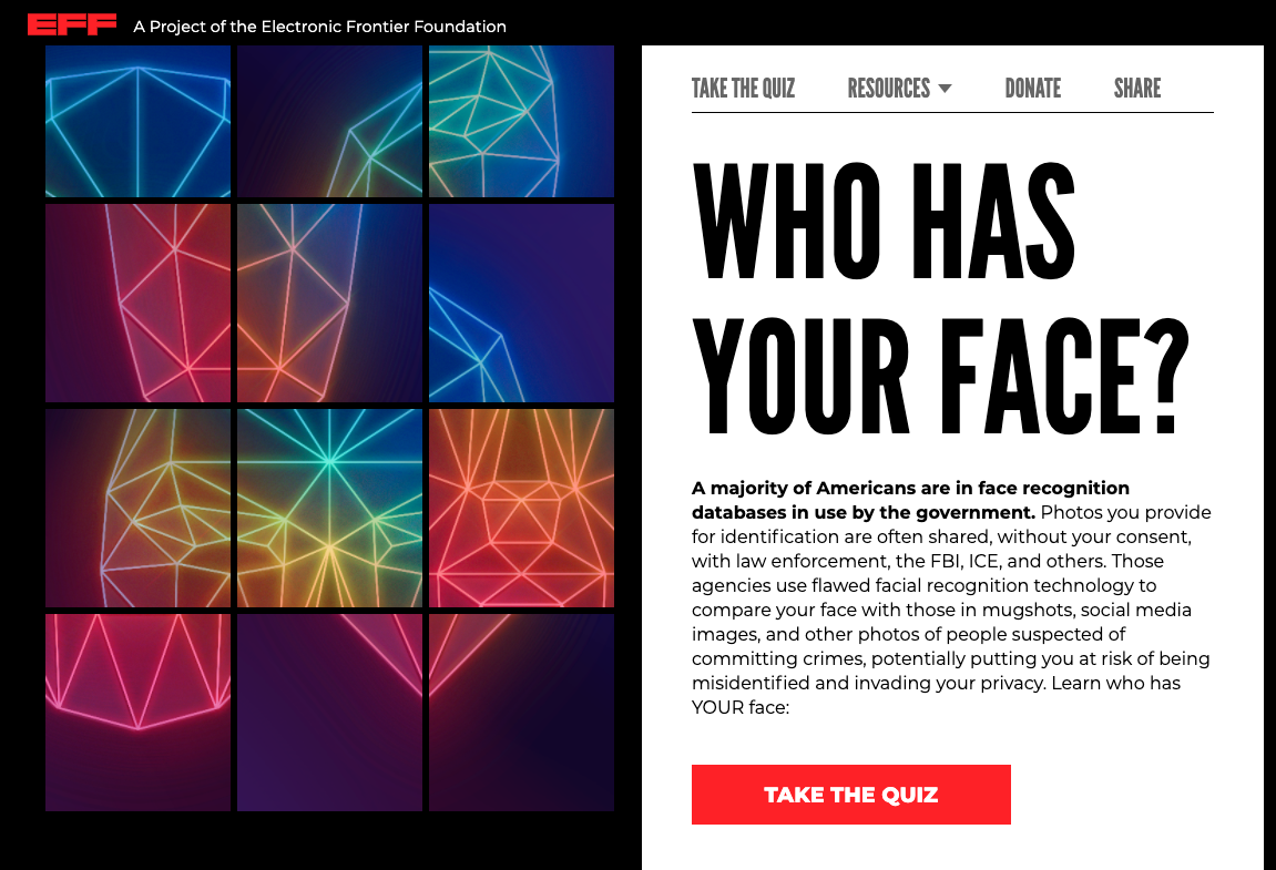 The front page of the Who Has Your Face website