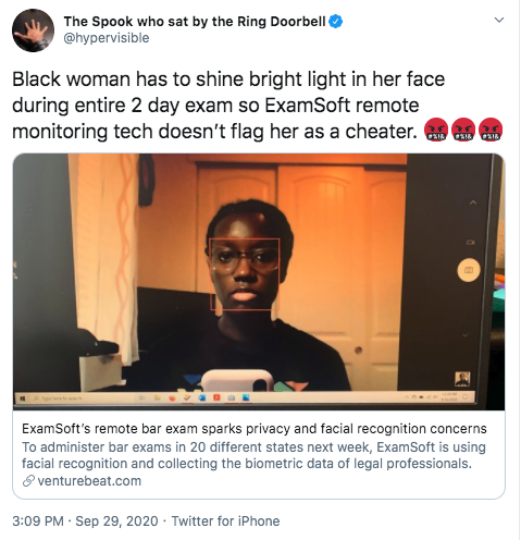 Black woman has to shine bright light in her face during entire 2 day exam so ExamSoft remote monitoring tech doesn't flag her as a cheater. 🤬🤬🤬""