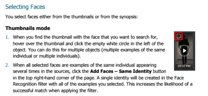 Instructions on how to select a face