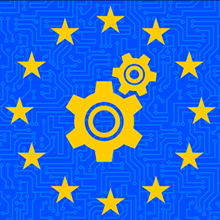 European Union circle of stars with gear icon in the center
