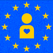 European Union circle of stars with icon of person with heart in the center