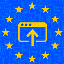 European Union circle of stars with an upload icon in the center