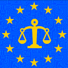 European Union circle of stars with scales of justice icon in the center