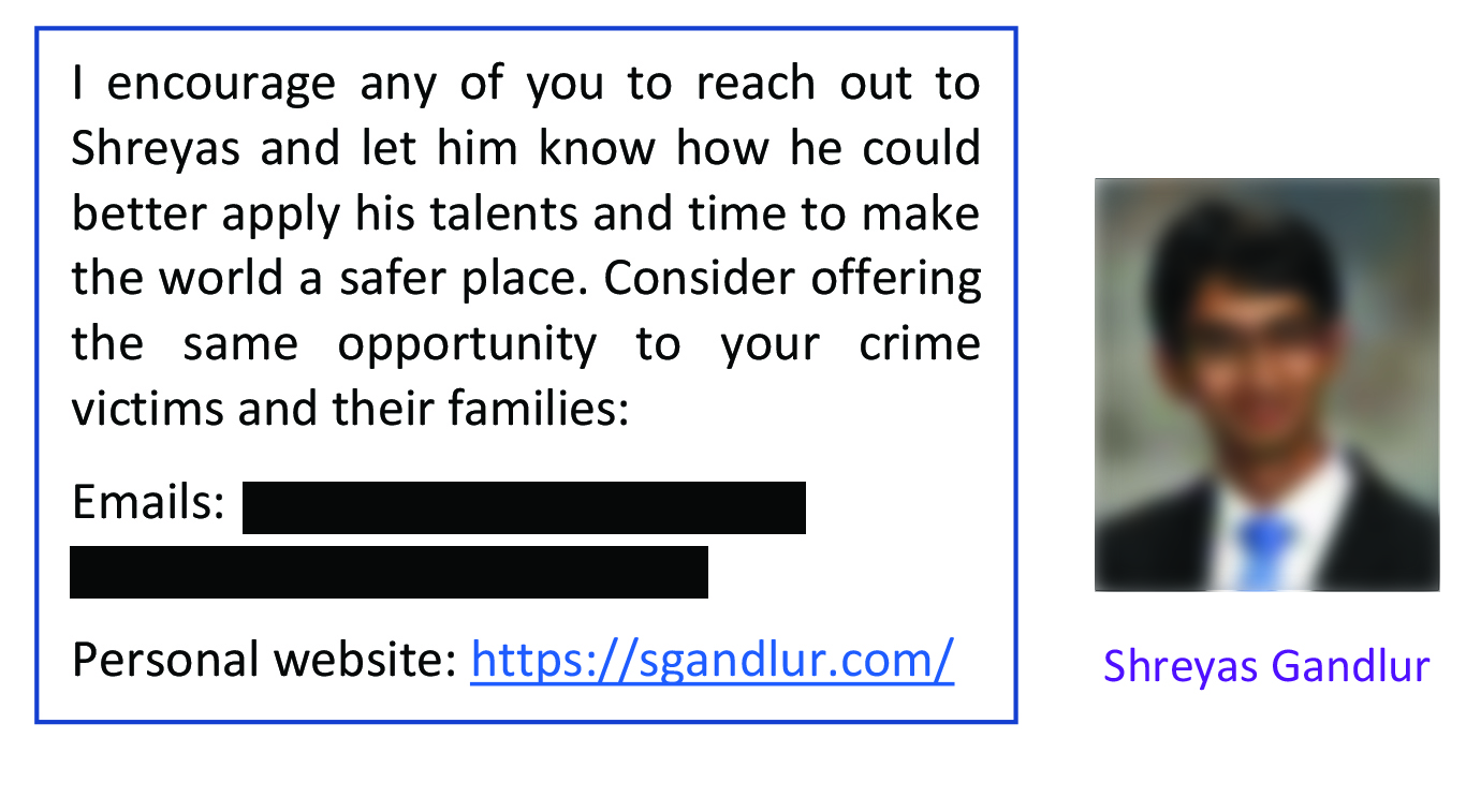A screen grab of a newsletter asking people to send Shreyas Gandlur messages. Personal information has been redacted.