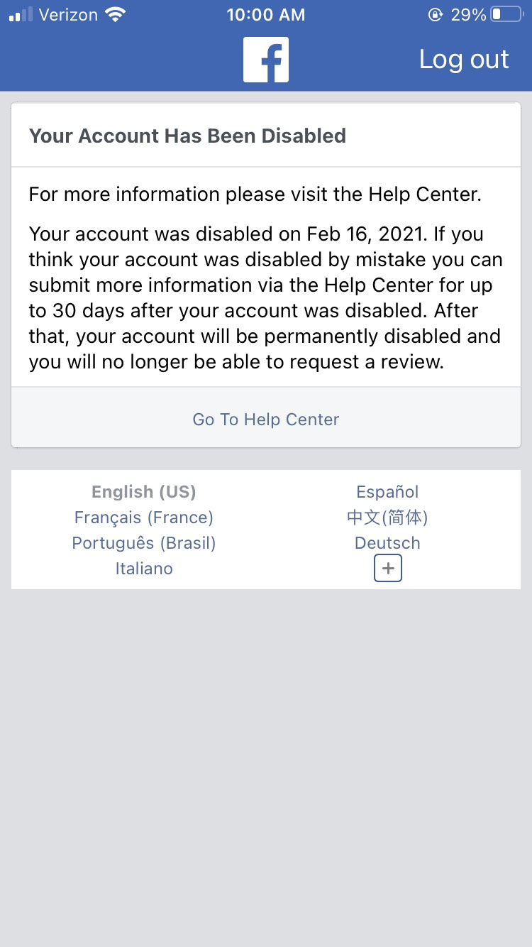 Screen shot of disabled Facebook Account