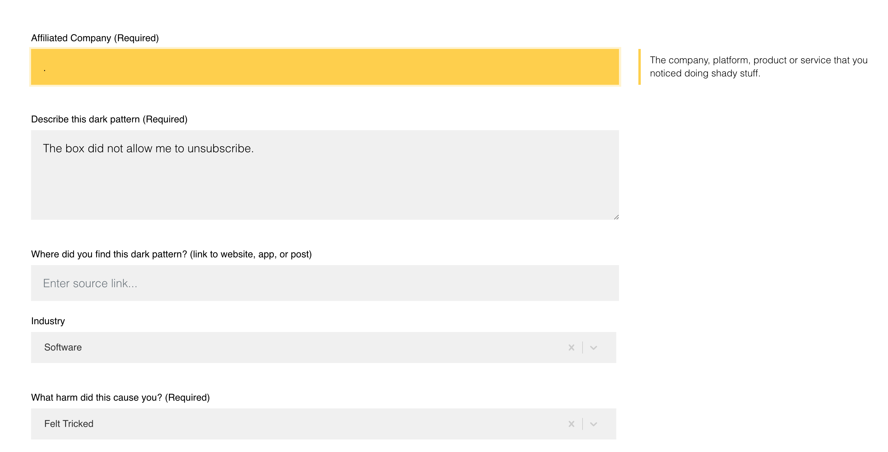 """""""The box did not allow me to unsubscribe"""" and the category """"felt tricked"""" selected."""