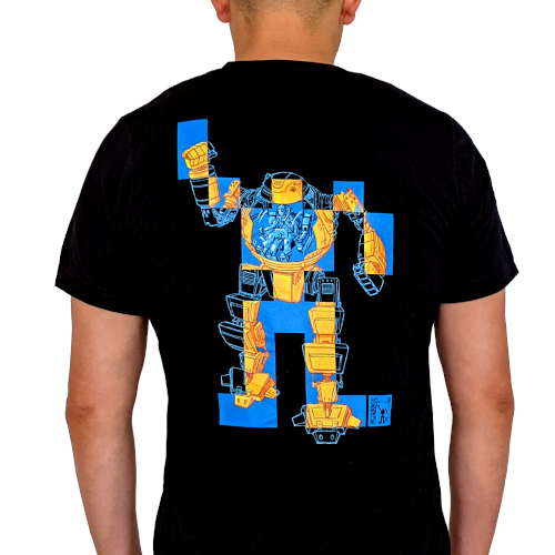 Person wearing a black shirt with an EFF mecha on the back