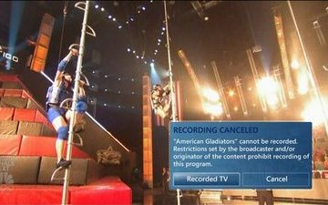 Vista shows 'Recording Cancelled' message over American Gladiators
