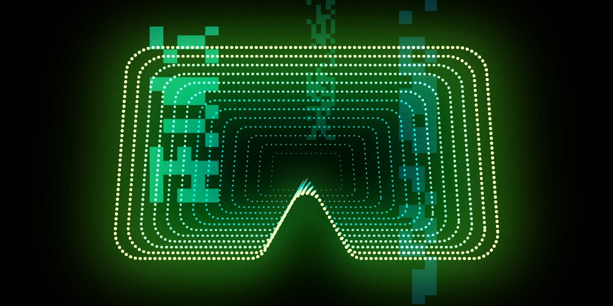 Abstract virtual space in the shape of a headset icon, with shapes as overlay