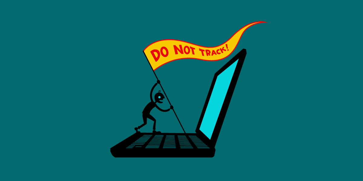 Do Not Track flag mounted on laptop
