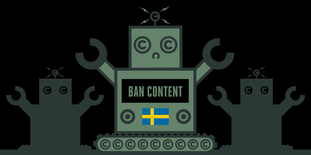 Swedish flag with robot
