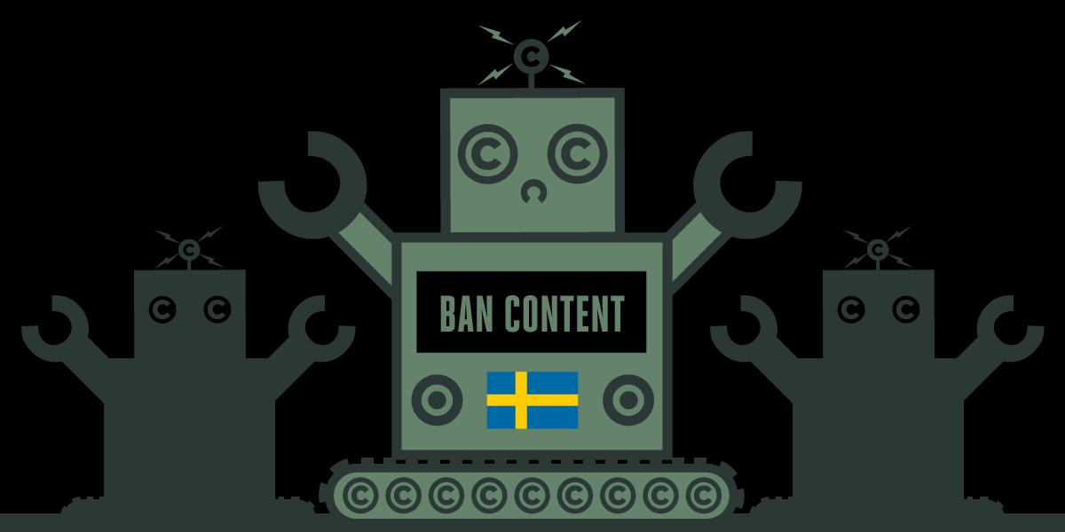 Swedish flag with robot