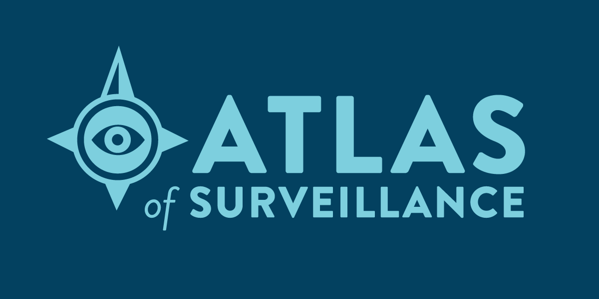 Atlas of Surveillance branding on blue