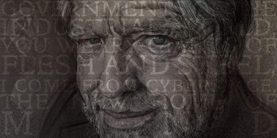 John Perry Barlow portrait with Declaration text