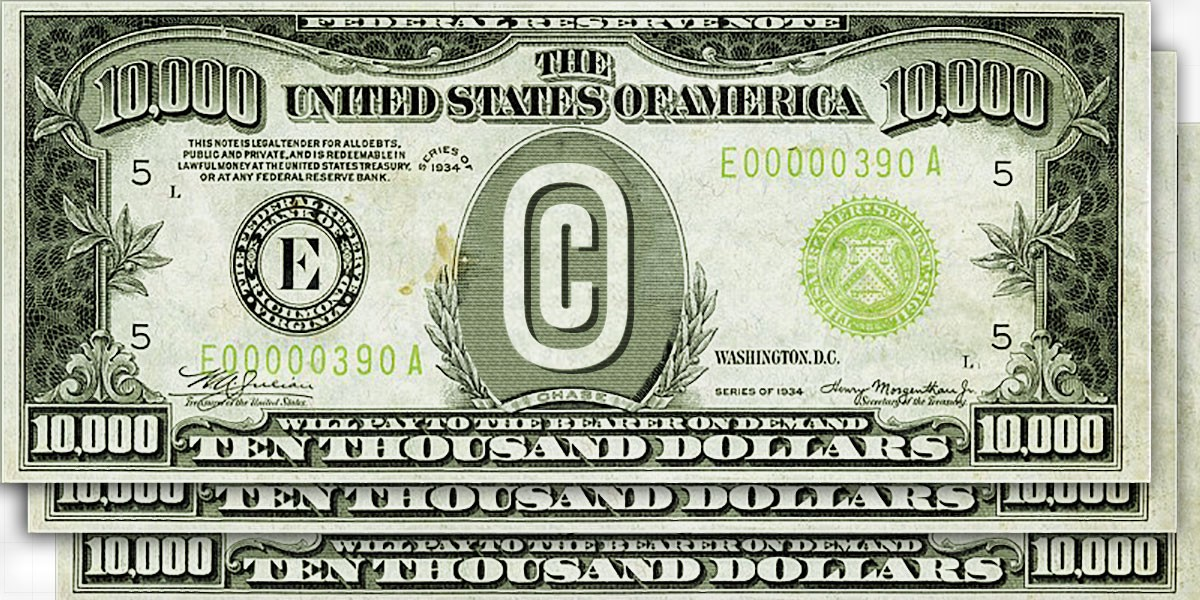 Three ten thousand bills with the copyright symbol instead of a portrait