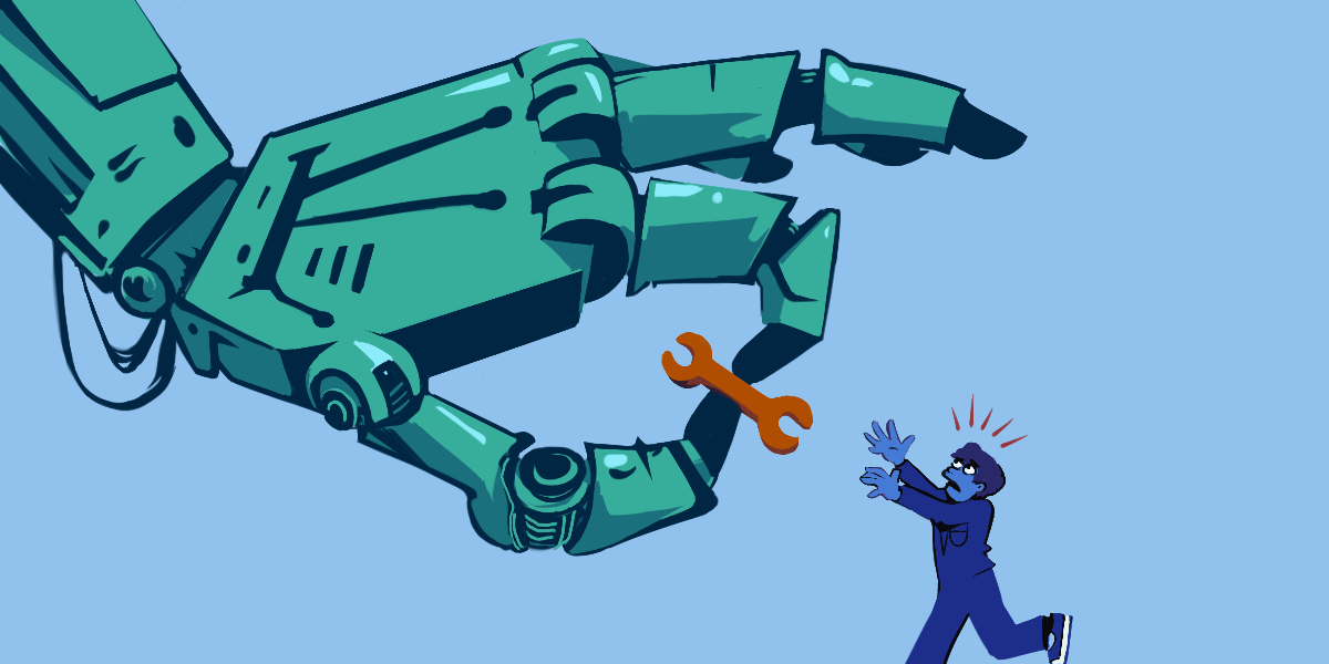 A large robot hand steals a tool from an alarmed person