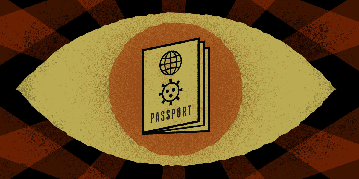 covid passport image with eye in background