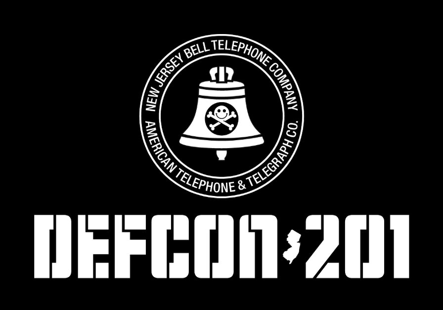 Black background with white text, which reads DEFCON 201 in block letters