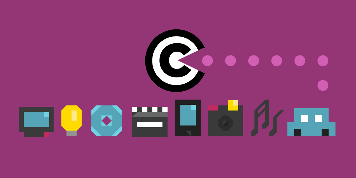 Purple background with copyright symbol eating icon of music, camera, computers etc