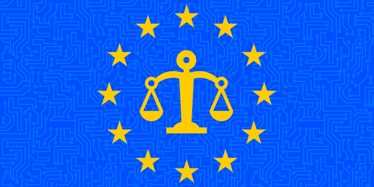 European Union flag with weighing scales in center