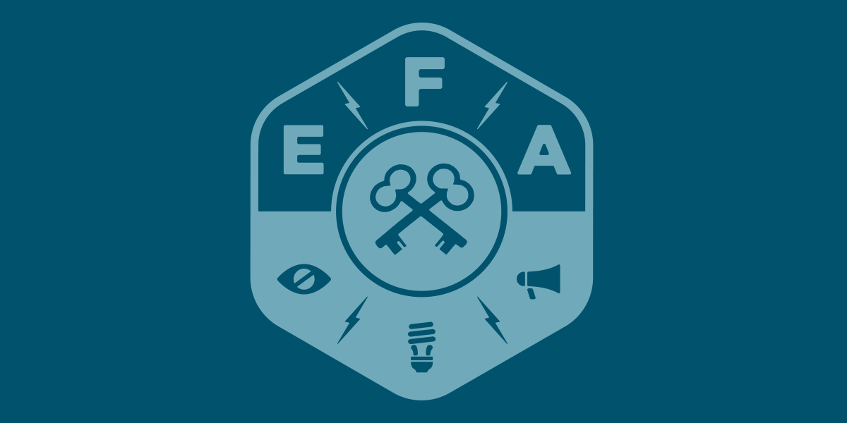 blue background with the two crossed keys underneath the letters 'EFA'