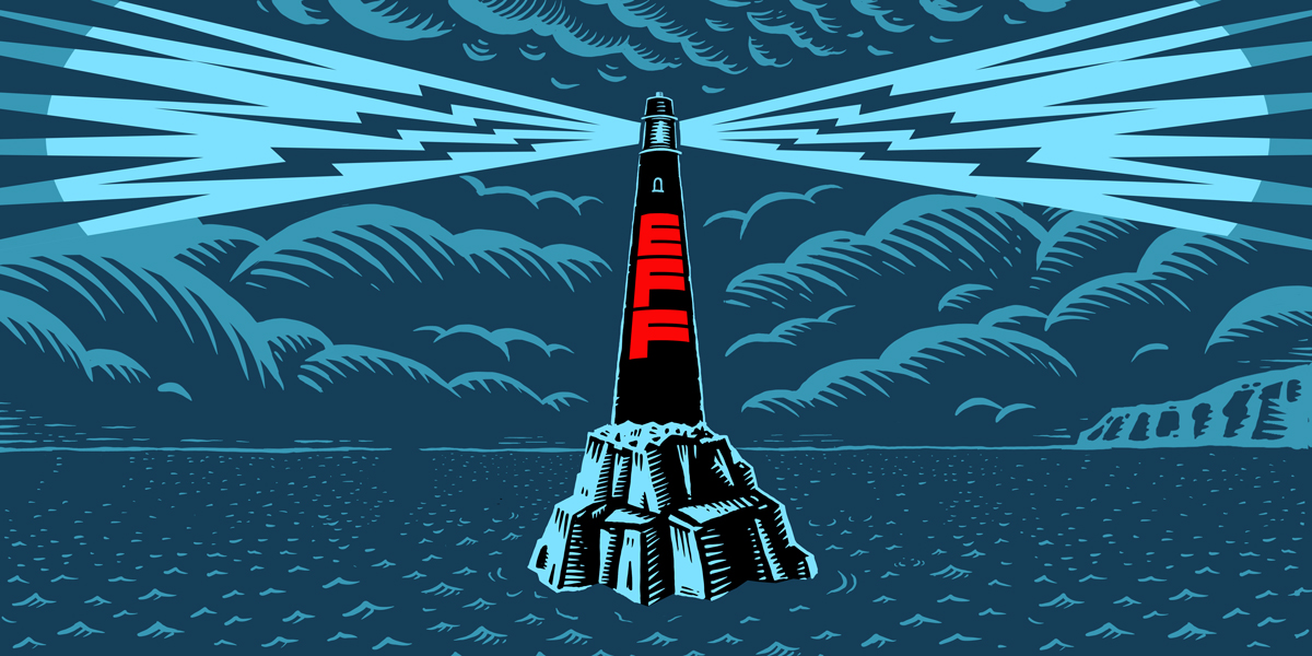 A lighthouse with EFF logo in a storm