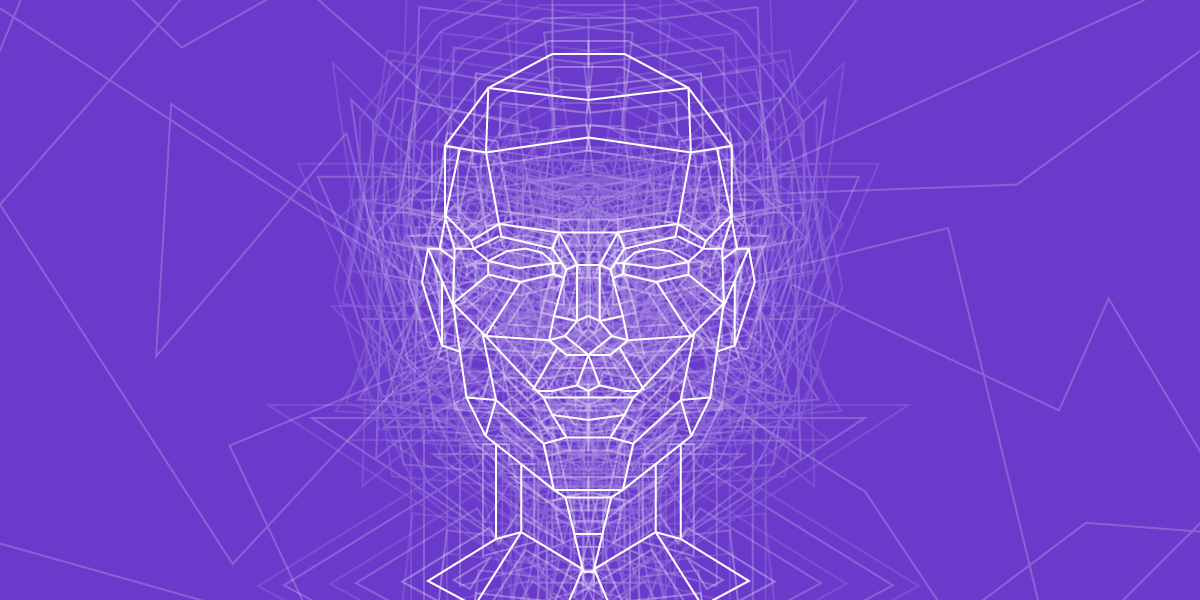 Image of face outline put together with several lines. Very cyberpunk.