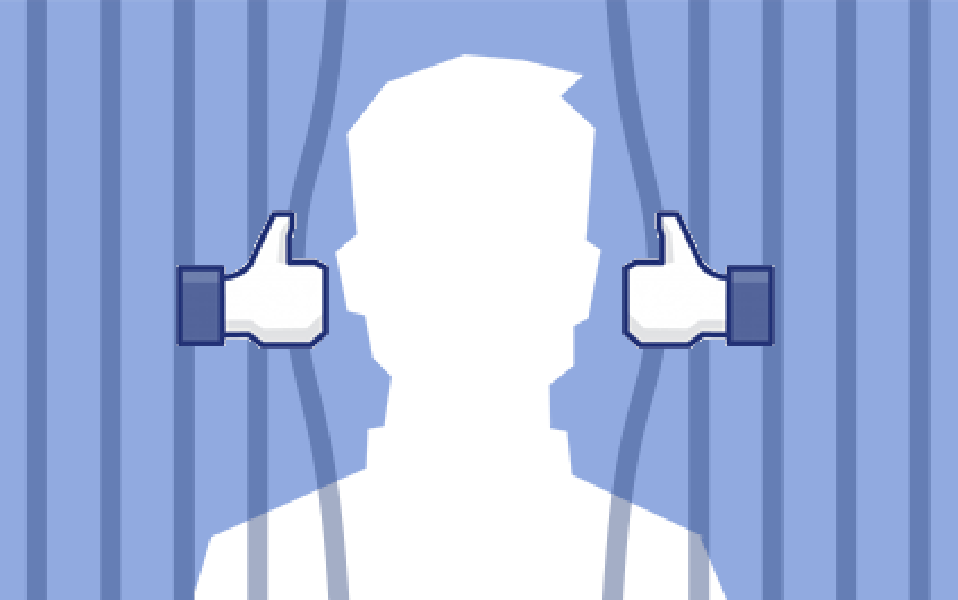 """A silhouetted head behind prison bars; the bars are being pried apart by Facebook """"Thumbs Up"""" icons."""