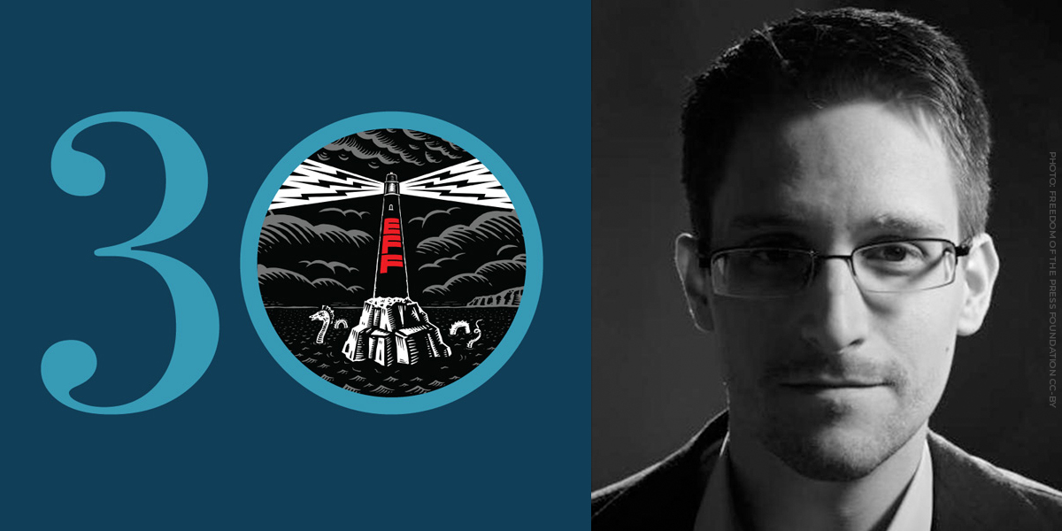 Blue 30th anniversary banner with EFF lighthouse next to Edward Snowden