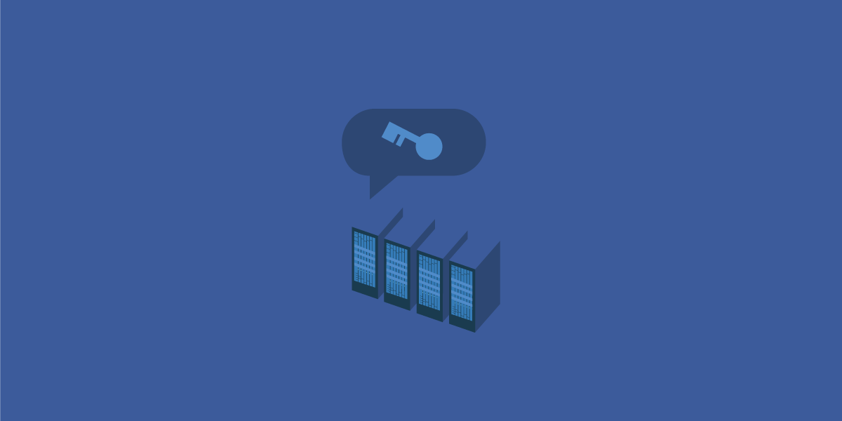 Facebook servers, with a speech bubble of a key above it.
