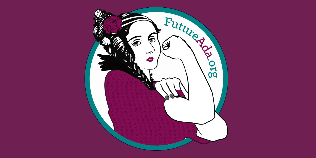Artist depiction of Ada Lovelace framed by a circle with the text reading 'futureada.org'.