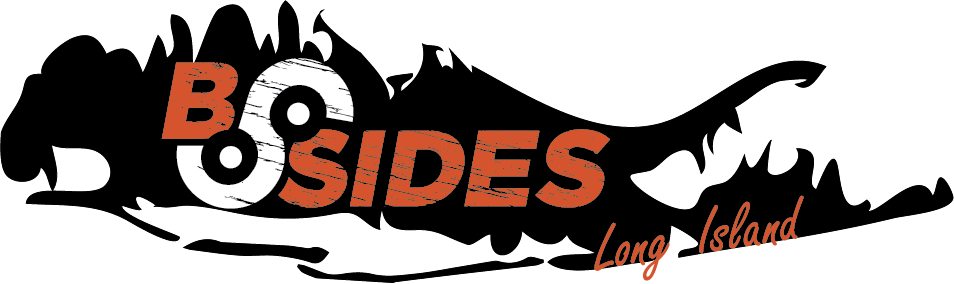 """BSides Long Island Logo: Silhouette of Long Island with the word """"BSides"""" embedded."""