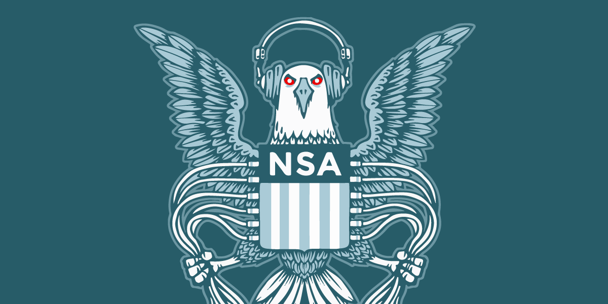 Bald Eagle bearing NSA crest, wearing headphones and gripping cables