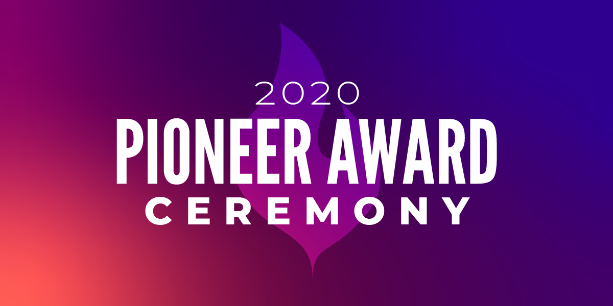 2020 Pioneer Award Ceremony Banner in Purple and Pink