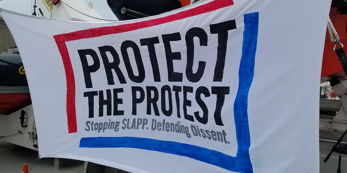 "A white banner with black text that reads ""Protect the Protest. Stopping SLAPP. Defending Dissent."" The words are framed by a blue and red border on the banner."