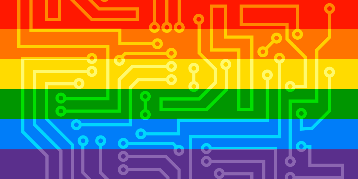 Rainbow Pride Flag with circuit board texture