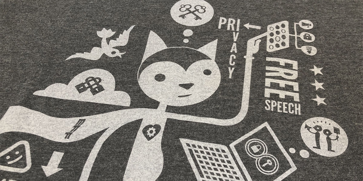 Image of EFF cat on a grey shirt
