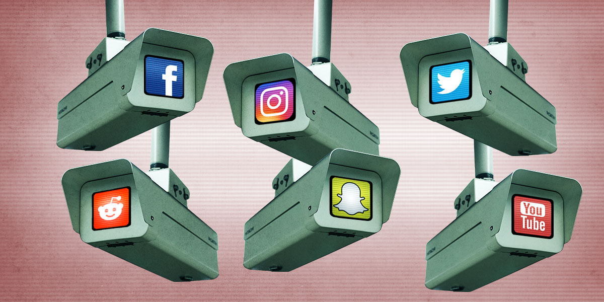 Surveillance cameras peering around, each with a social media company icon.