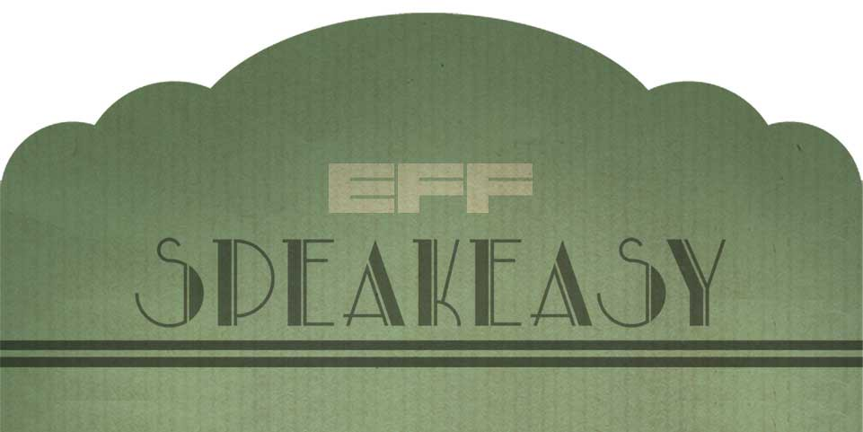 Olive green EFF Speakeasy banner in an art deco style