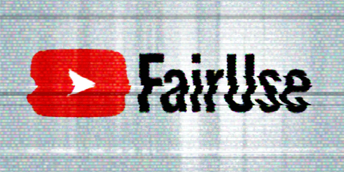 Staticky image of the YouTube play symbol and the words Fair Use