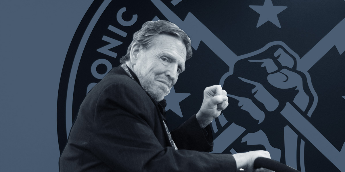 A photo of John Perry Barlow, triumphant